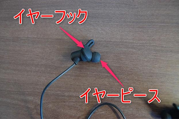 左右一体型のワイヤレスイヤホン・サウンドピーツQ35HDのイヤーフックとイヤーピースのイメージ