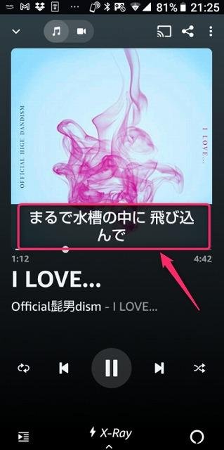 AmazonMusicアプリで再生中の楽曲イメージ